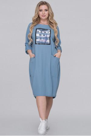 Платье «Иветта» серо-голубого цвета