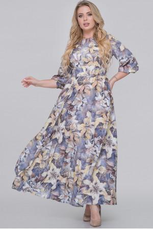 Платье «Эовин» серого цвета с лилиями