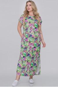 Сукня «Тоня» салатового кольору з бузковим