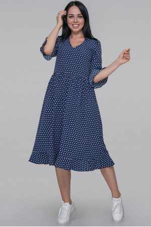 Платье «Ирис» синего цвета в горошек