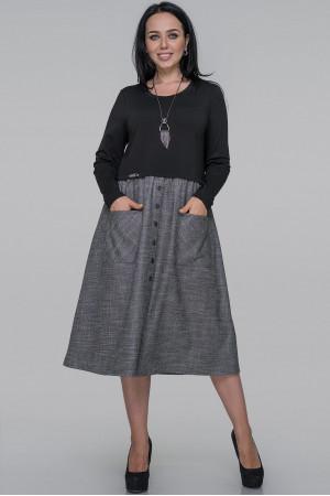 Платье «Лавиния» серого цвета с черным
