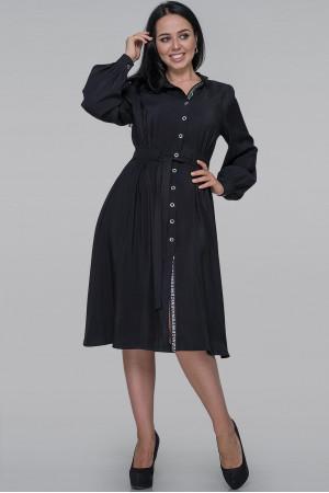 Платье-рубашка «Генвиллэ» черного цвета