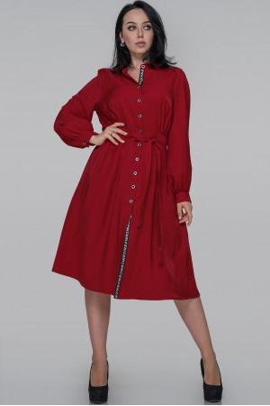 Платье-рубашка «Генвиллэ» красного цвета