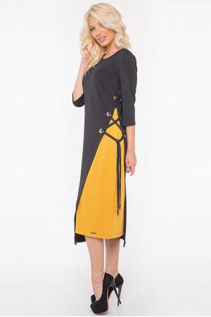 Платье «Трини» черного цвета с горчичным