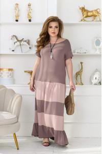 Платье «Рика» цвета мокко с бежевым