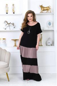 Платье «Рика» черного цвета с мокко