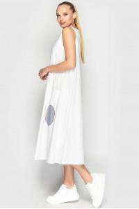 Платье «Ферн» бело-серого цвета