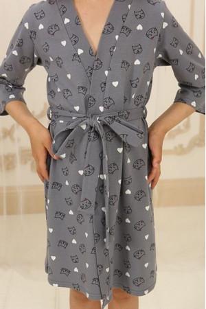 Халат для дівчинки ДХ-М-1 сірого кольору з котиками
