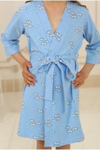 Халат для девочки ДХ-М-1 голубого цвета с облаками