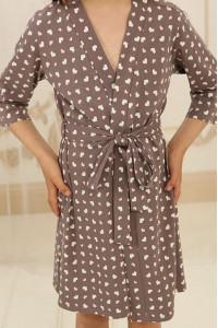 Халат для дівчинки ДХ-М-1 кольору мокко з серденьками