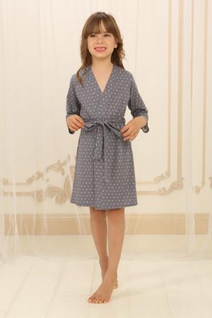 Халат для дівчинки ДХ-М-1 сірого кольору в горошок