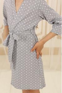 Халат для дівчинки ДХ-М-1 сірого кольору в зірочки