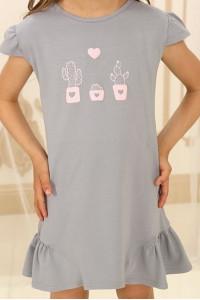 Нічна сорочка для дівчинки ДНС-М-1 сірого кольору з кактусами