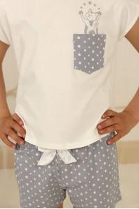 Піжама для дівчинки ДП-М-1 сірого кольору в зірочки