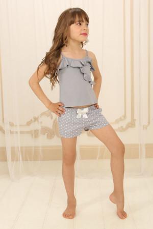 Пижама для девочки ДП-М-2 серого цвета в звездочки