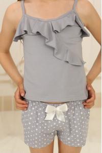 Піжама для дівчинки ДП-М-2 сірого кольору в зірочки
