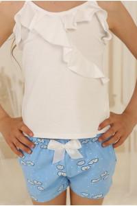 Піжама для дівчинки ДП-М-2 блакитного кольору з хмаринками