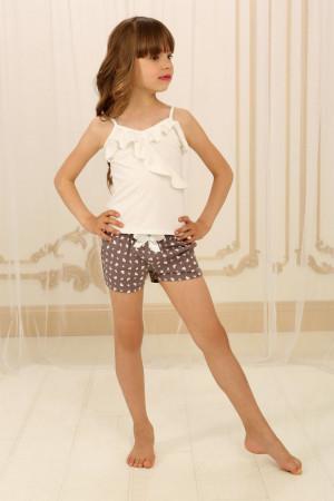 Піжама для дівчинки ДП-М-2 кольору айворі з серденьками