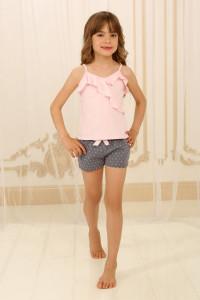 Піжама для дівчинки ДП-М-2 рожевого кольору в горошок
