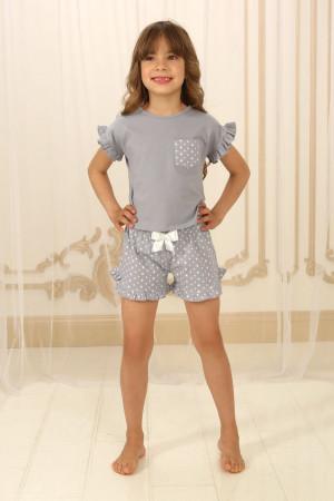 Пижама для девочки ДП-М-3 серого цвета в звездочки