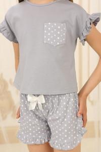 Піжама для дівчинки ДП-М-3 сірого кольору в зірочки