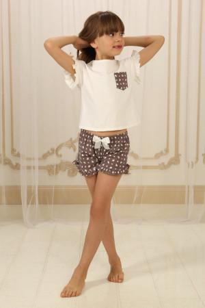 Піжама для дівчинки ДП-М-3 кольору айворі з серденьками