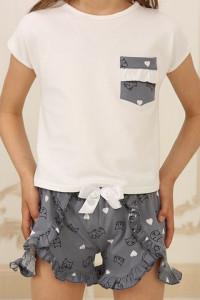 Піжама для дівчинки ДП-М-4 сірого кольору з котиками