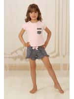 Піжама для дівчинки ДП-М-4 рожевого кольору в горошок