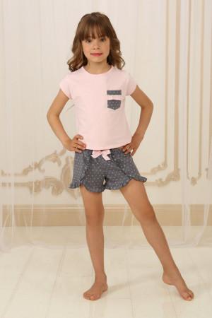 Пижама для девочки ДП-М-4 розового цвета в горошек