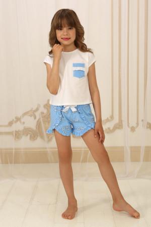 Пижама для девочки ДП-М-4 голубого цвета с облаками