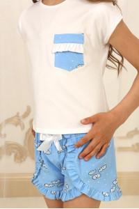 Піжама для дівчинки ДП-М-4 блакитного кольору з хмаринками