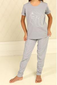 Піжама для дівчинки ДП-М-6 сірого кольору в зірочки