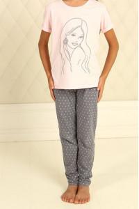 Піжама для дівчинки ДП-М-6 рожевого кольору в горошок
