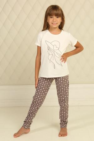 Пижама для девочки ДП-М-6  цвета айвори с сердечками
