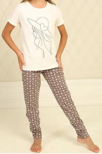 Піжама для дівчинки ДП-М-6 кольору айворі с серденьками