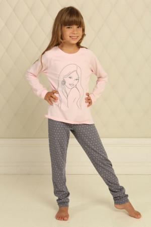 Пижама для девочки ДП-М-7 розового цвета в горошек