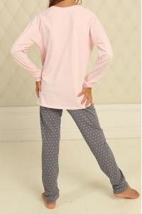 Піжама для дівчинки ДП-М-7 рожевого кольору в горошок