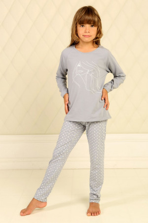 Пижама для девочки ДП-М-7 серого цвета в звездочки
