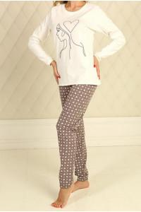 Піжама для дівчинки ДП-М-7 кольору айворі з серденьками