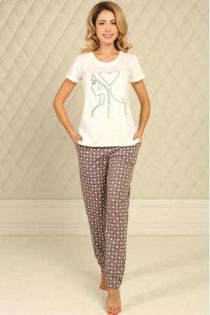 Пижама П-М-51 цвета айвори с сердечками