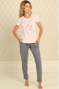 Пижама П-М-51 розового цвета в горошек