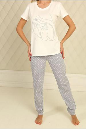 Піжама П-М-51 кольору айворі в зірочки