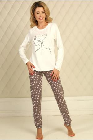 Піжама П-М-58 кольору айворі з серденьками