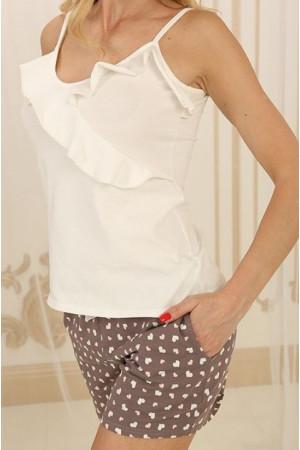 Піжама П-М-73 кольору айворі з серденьками