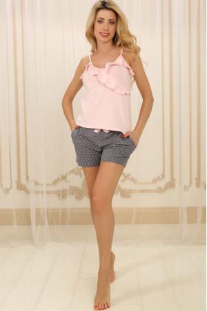 Пижама П-М-73 розового цвета в горошек