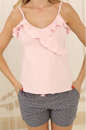 Піжама П-М-73 рожевого кольору в горошок