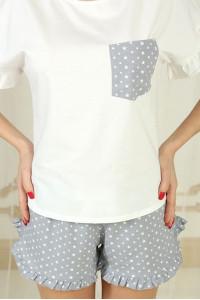 Пижама П-М-75 цвета айвори в звездочки