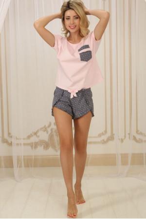 Пижама П-М-79 розового цвета в горошек