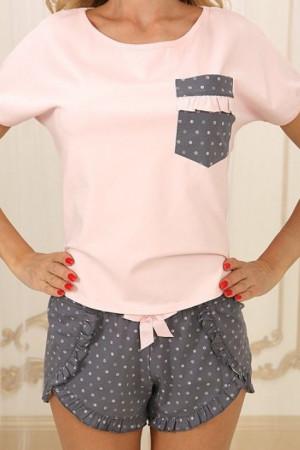 Піжама П-М-79 рожевого кольору в горошок