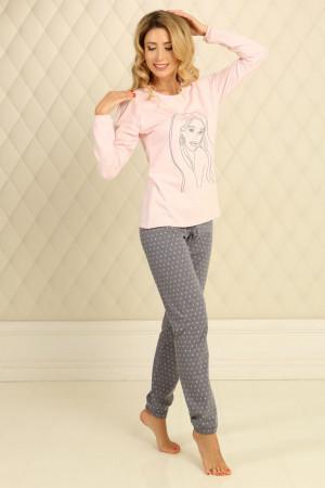 Пижама П-М-58 розового цвета в горошек